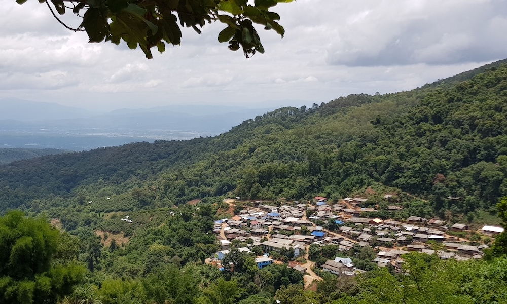 Panorama of a village, forests and fields
