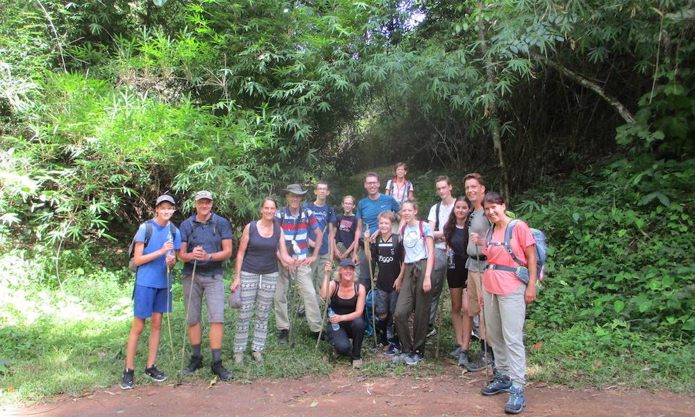 Big family group before going trekking