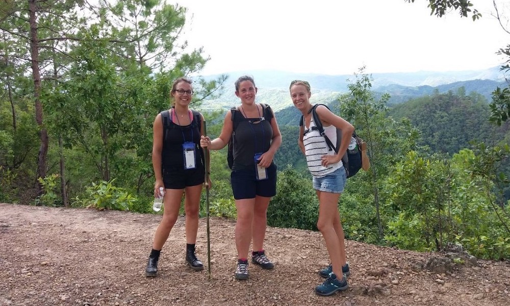 Three ladies on the Huay Nam Dang trekking