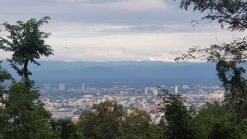 Sunset view of Chiang Mai with forest Doi Suthep Monk's Trail