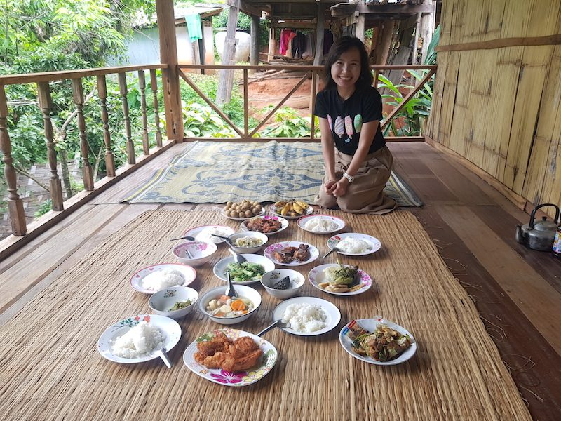 Woman with plates of food healthy food