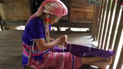 local woman working on texile karen tribe