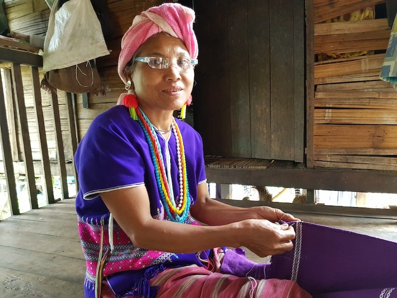 local woman with textile Karen hill tribe