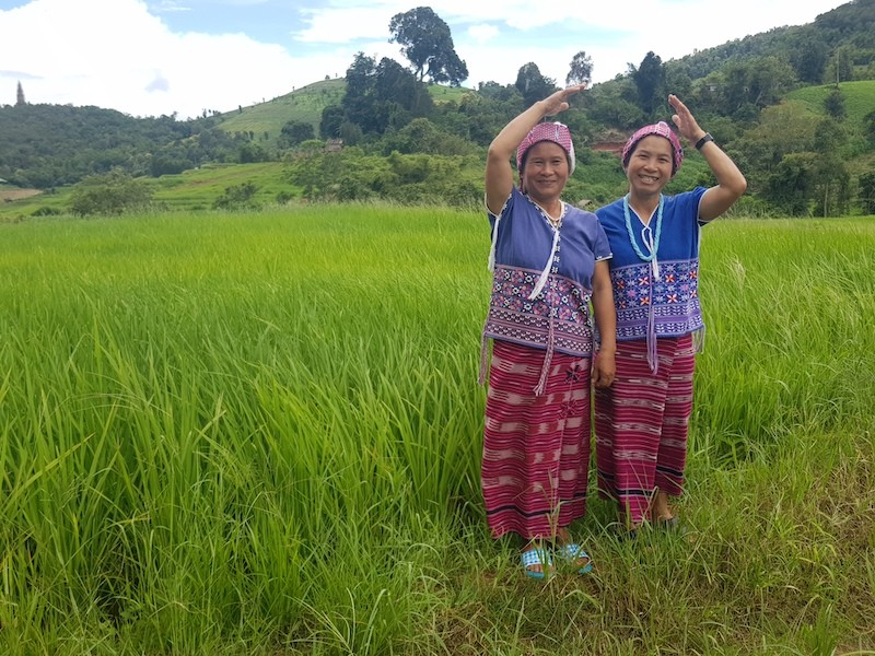 Two women waving in a ricefield
