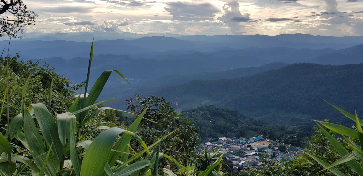 Panorama of mountains and village Hmong hill tribe