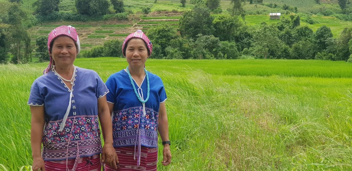 Two women in a field Karen hill tribe Karen Cultural Tour