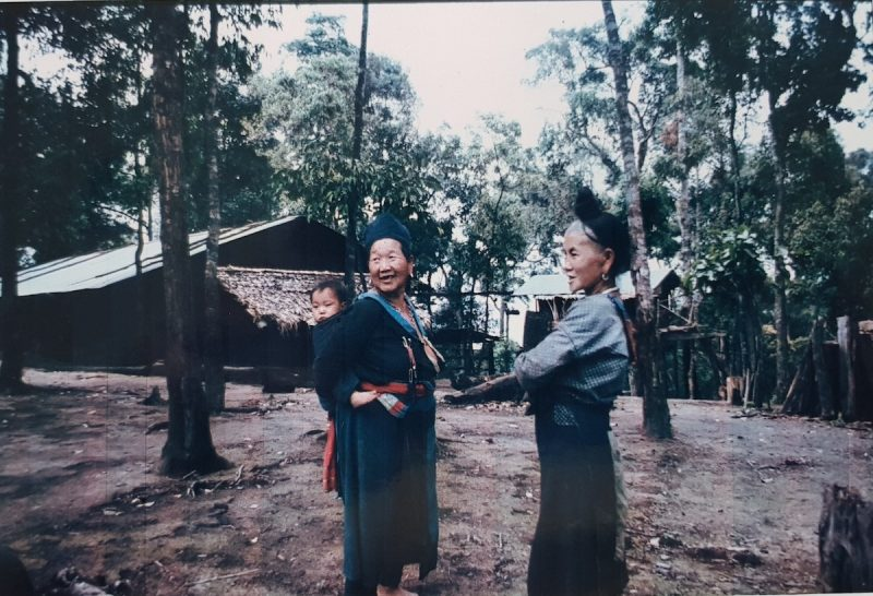 Two women in traditional dress Hmong hill tribe