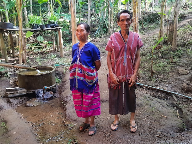 Man and woman in traditional dress Huai Nam Dang National Park Ethnic Minorities North Thailand