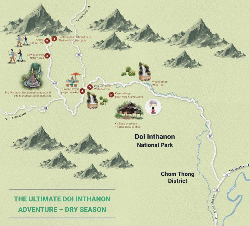 Map of Doi Inthanon tour The Ultimate Doi Inthanon Adventure