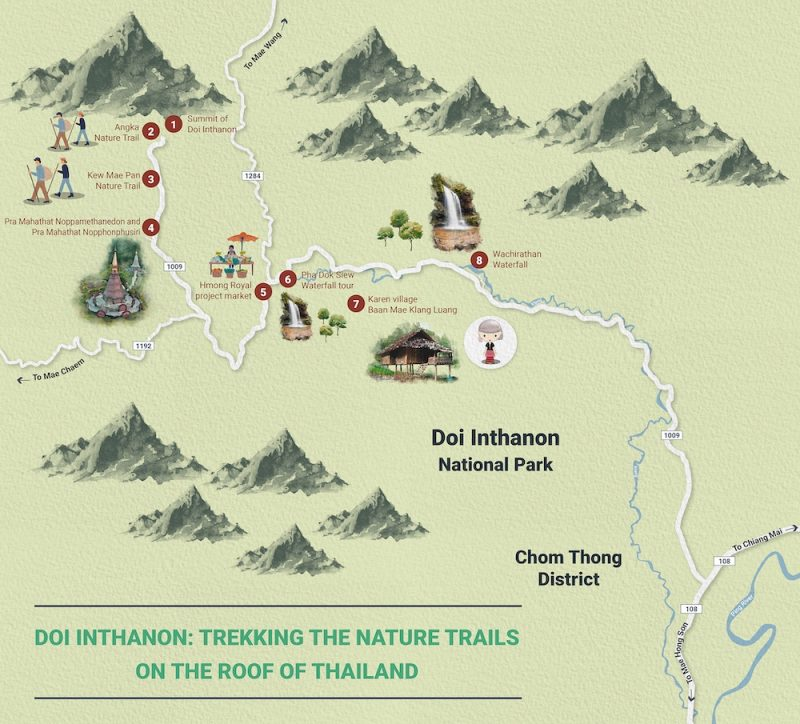 Map of Doi Inthanon Doi Inthanon: Trekking the Nature Trails on the Roof of Thailand