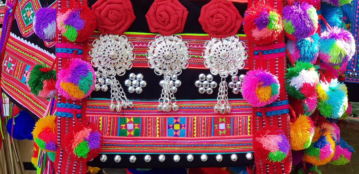 Tribal bag with silver jewellery Lahu hill tribe
