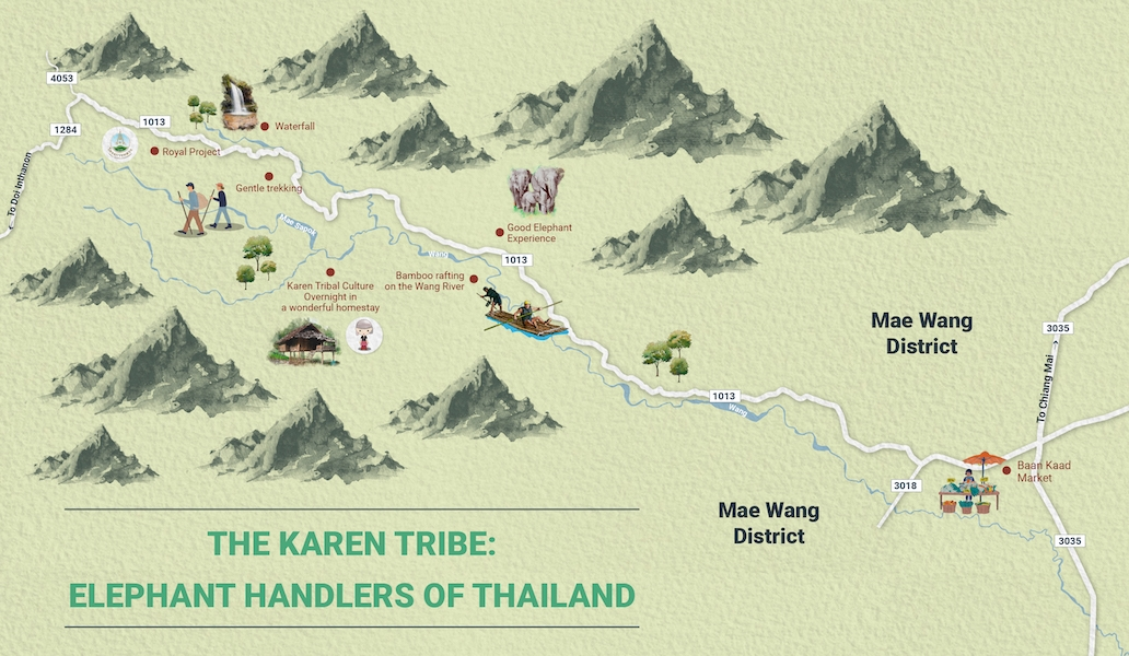 Map of Mae Wang district with attractions