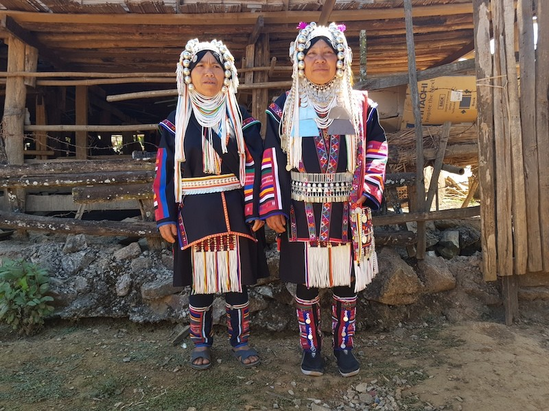 Two tribal women in nice dress Chiang Mai hill tribes