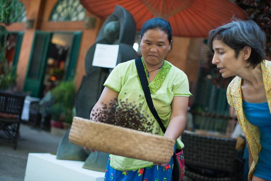 Two women with basket