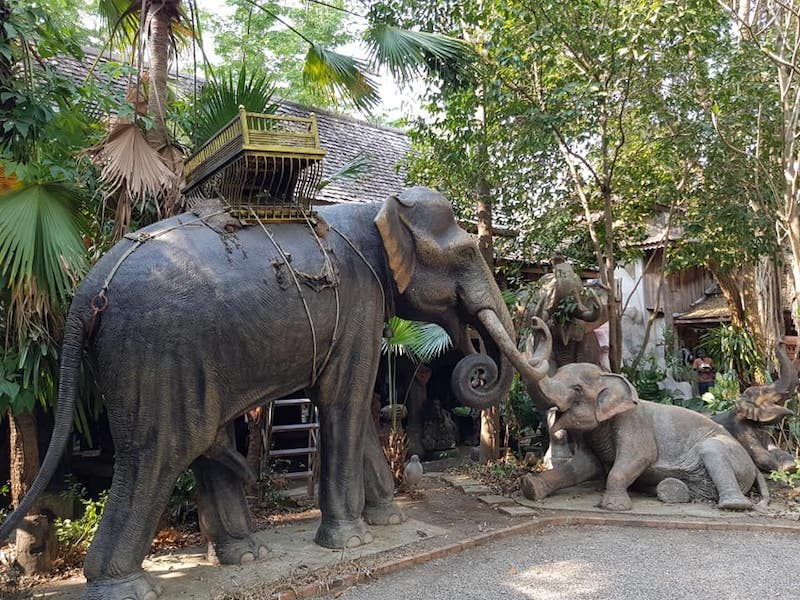 Two elephant statues