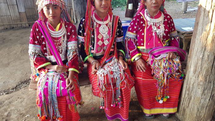 Three women in tribal dress dara-ang