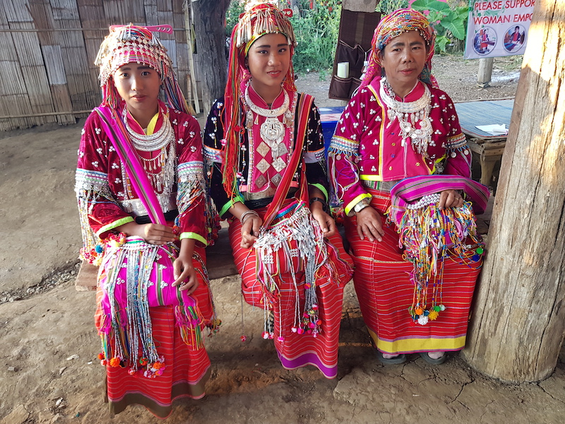 Three women in tribal dress dara-ang