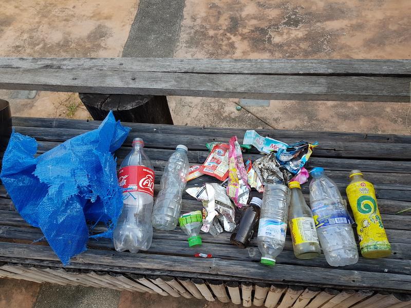 Plastic bottles and trash