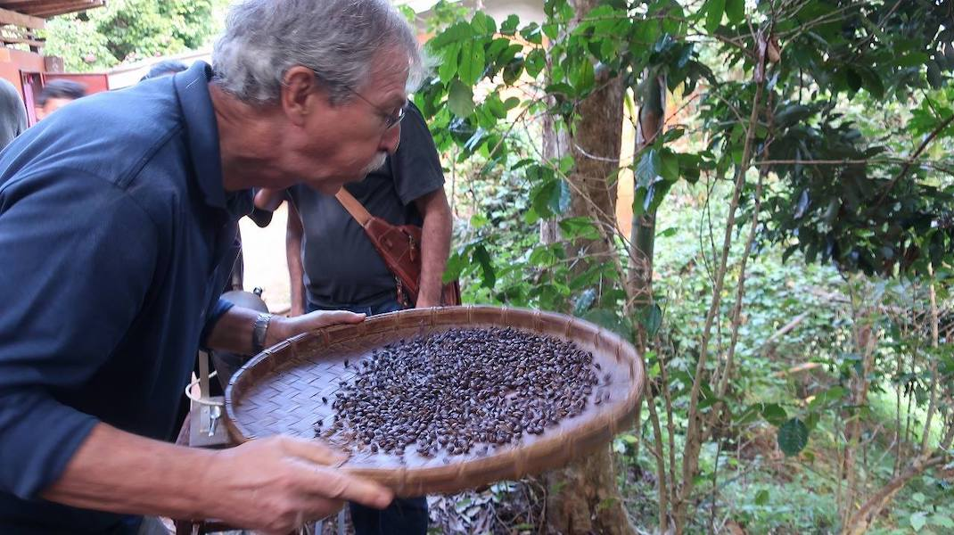 Tourist blowing coffee beans the mission statement of green trails