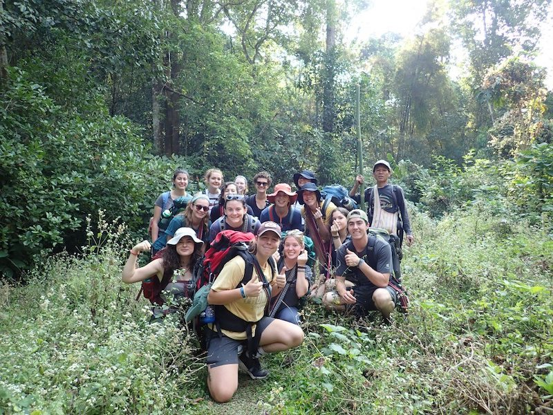 Young trekkers in the forest