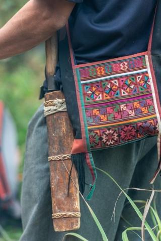 Knife in holder tribal bag