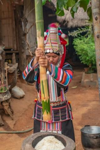 Tribal woman pounding rice