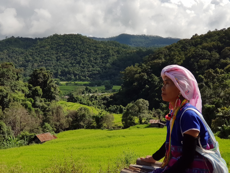 Tribal woman with background view