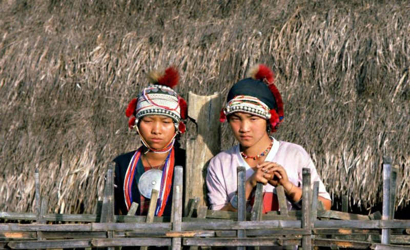 Two girls in traditional dress
